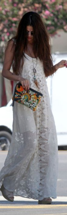 Who made  Selena Gomez's clutch handbag, jewelry, and white lace maxi dress that she wore in Los Angeles on August 1, 2013?