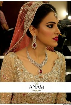 Bunto Kazmi dress makeup by ANAM LOVE the ruby and diamond jewellery
