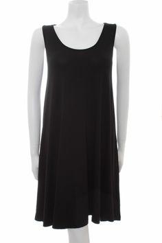 Myrine CHERRY Sleeveless Swing Dress in Black Soft jersey tunic dress Scoop neckline Length 97cm shoulder to hem 95 Viscose 5 Elastane Wash at 30