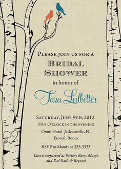 Birch Trees & Birds Bridal Shower Invitation  by PartyPopInvites, $17.00