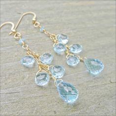 Blue Topaz Earrings 14K Gold Briolette Dangles by CamileeDesigns,