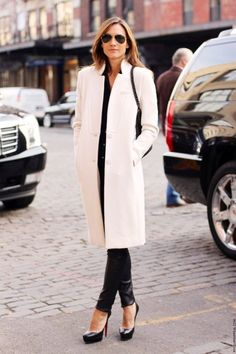white coat + leather trousers. I absolutely love this look the lather trousers make the look edgy. Wear as the white coat makes it sophisticated and classy.