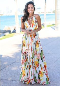 Women Maxi Floral Print Wrap Crisscross Back V Neck Casual White Dress - XL Floral Maxi Dress, Floral Dress Wedding, Boho Wedding Guest Dress, Boho Dress, Mode Style, Sexy Dresses, Sleeveless Dresses, Women's Maxi Dresses, Maxi Dresses For Summer