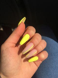 Colourful Acrylic Nails, Acrylic Nails Yellow, Yellow Nail Art, Summer Acrylic Nails, Black Nails, Neon Nails, Neon Orange Nails, Neon Nail Art, Swag Nails