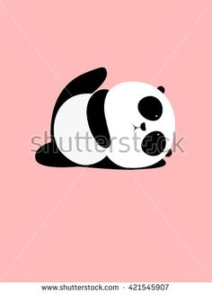 Vector Illustration: A cute cartoon giant panda is doing yoga, lying down and raising one leg - stock vector Cartoon Panda, Cartoon Boy, Cute Cartoon, Panda Store, Panda Art, Baby Wallpaper, Do Exercise, How To Do Yoga, Raising