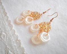 White Flower Button Earrings. Reused Materials. by SaveTheNature, $11.75
