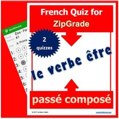 """Here are 2 great quizzes to see if learning took place with """"le verbe tre au pass compos,"""" which is all ready to be used and then graded into ZipGrade.THIS DOCUMENT HAS IT ALL for you pour le verbe tre au pass compos!!!1) 2 quizzes, 20 questions each, on the verb to be (le verbe tre au pass compos)2) The students' answer sheets3) The Answer Keys all bubbled in for you and ready to scan in ZipGrade4) Bonus: Extra regular Answer Key sheets if you don't have access to ZipGradeHere is some more…"""