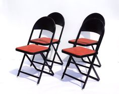 Vintage Metal Folding Chairs in Black and Red Set of 4 by ThirdShift - Garden Party Decor, Patio or Deck Chairs, Family Game Room Decor, and more!  Retro cool!