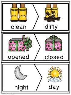Antonym Make A Match Cards by Triple the Love in Grade 1 English Worksheets For Kids, English Lessons For Kids, English Activities, Preschool Learning Activities, Preschool Printables, Preschool Worksheets, Preschool Activities, Kids Learning, English Fun