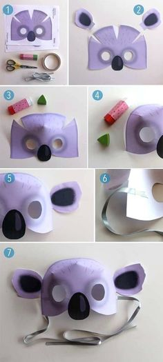 Printable koala mask includes colour in koala mask templates, colour in worksheets about the Australian koala! Make in class or at home as an art activity. Projects For Kids, Diy For Kids, Crafts For Kids, Preschooler Crafts, Animal Mask Templates, Print Templates, Koala Costume, Koala Craft, Cardboard Mask