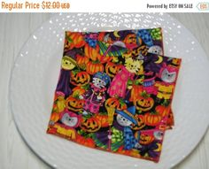 BUTTERFLY SALE Halloween Cloth Napkins Cats Pumpkins by MakeMeOver