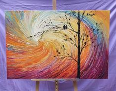 Buy Art Painting Online, Original Heavy Texture Oil Painting for Sale Love Birds Painting, Simple Oil Painting, Hand Painting Art, Oil Painting Abstract, Texture Painting, Painting Canvas, Large Painting, Oil Painting Techniques, Painting Tips