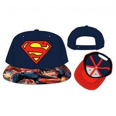 DC Comics Superman Patch Shield Logo Full Print Flat Brim Baseball Cap Hat  NWT 9b316424a72