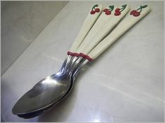 Polymer clay enhanced cherry teaspoons  set of four