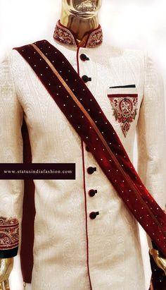Designer mens Dupatta, Velvet wedding Dupatta, maroon with gold dupatta, Mens Dupatta, Dupatta for Men www.statusindiafashion.com
