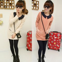 New Women's Doll Collar Double Pocket Long Sleeve Dress 3Colors