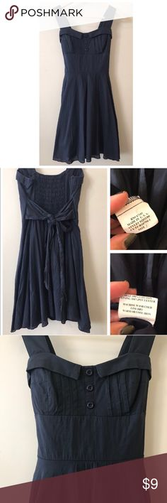 "Ruby Rox Navy Blue Dress 💙 Beautiful Preloved dress. Sweetheart neckline and padded bust area. Elastic on the back. Fully lined, I washed, noticed this 2 small flaws(shown on Pictures) think it's fabric softener. Approx 30""Long. It's very flattering dress. Dresses Midi"