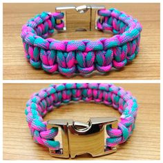 Neon bracelet. Paracord bracelet. pink by JewelleryHype on Etsy