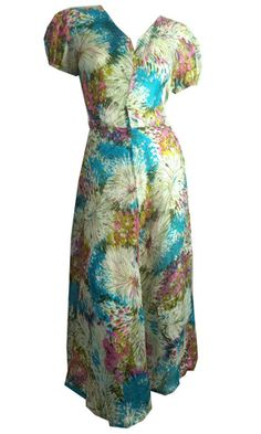 a Brightly Colored Abstract Floral Print Silk Dress circa 1940s - Dorothea's Closet Vintage