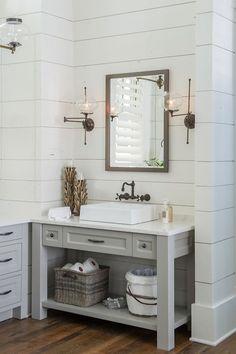 via Home Bunch   Black Wall Mounted Faucet   Shiplap Walls Bathroom   Gray Bathroom Vanity