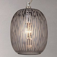 John Lewis Agatha Smoked Carved Glass Ceiling Light, Grey