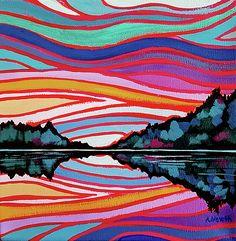 """Sunset Reflection"", acrylic painting on canvas"