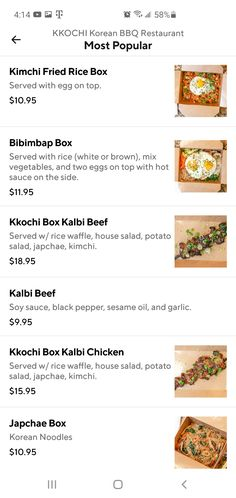 Kalbi Beef, Korean Bbq Restaurant, Rice Box, Restaurant Delivery, Kimchi Fried Rice, Mixed Vegetables, Hot Sauce, Waffles, Spicy Salsa