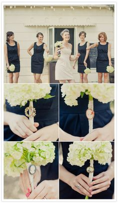 i like the girls' bouquets (minus the broaches) -- i orig envisioned them in navy dresses with chartreuse hydrangeas :)