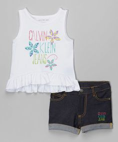 Take a look at this White Floral Logo Tank & Denim Shorts - Infant, Toddler & Girls on zulily today!