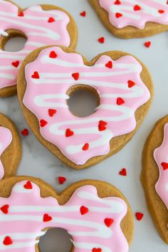 Coffee and Donuts Valentine Cookies (Bake at Valentine's Day Sugar Cookies, Iced Cookies, Cut Out Cookies, Cupcake Cookies, Coffee Cookies, Heart Cookies, Cute Desserts, Holiday Desserts, Holiday Cookies