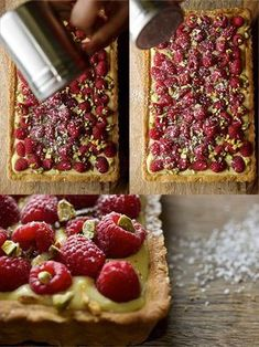 Raspberry Pistachio Tart_dusting powder-sugar Raspberry Pistachio Tart is the perfect make ahead summer dessert, light and fresh and incredible delicious! Tart Recipes, Sweet Recipes, Baking Recipes, Dessert Recipes, Dinner Recipes, Family Recipes, Grilling Recipes, Summer Recipes, Healthy Recipes