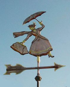 This company makes some amazing weathervanes! Mary Poppins with Umbrella Weathervane by West Coast Weather Vanes. This handcrafted, unique, copper Mary Poppins weathervane was custom made for a family and their two children. Mary Poppins, West Coast Weather, Parasols, Disney Home, Disney Disney, Disney Dream, Shop Signs, Disney Magic, Yard Art