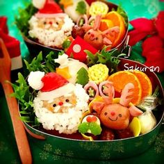 I always think Obento Crafting is super indulgent, but seriously, how cute is this X'mas bento?