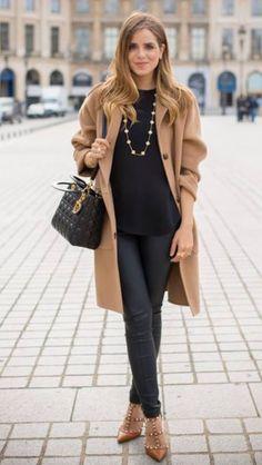 Camel coat over all black.