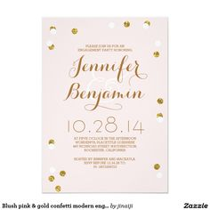 Blush pink & gold confetti modern engagement party card