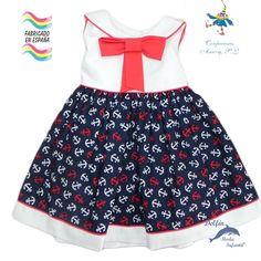 Vestido de bebe PIZPIRETA estampado anclas marino