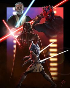 Darth Vader, Ahsoka, Darth Maul & Obi-Wan Kenobi