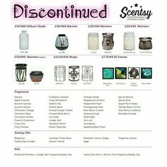 Scentsy Discontinued Lines from the A/W 16/17 Catalogue - If your favourite is listed here order quick while stocks last!!