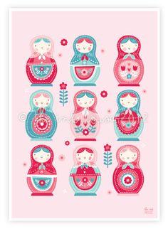 SWEET BABUSHKA Print baby girl wall art nursery by TheInkHouse