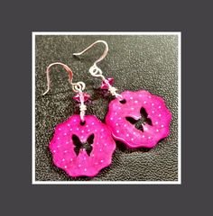 Pink butterfly shrink plastic earrings