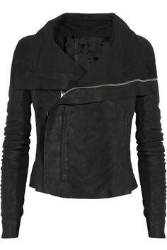 Black washed-leather Draped collar, ribbed wool-paneled sleeves, three front zipped pockets, two internal buttoned pockets, fully lined Asymmetric zip fastening through front 100% leather (Lamb); trim: 100% wool; lining1: 100% cotton; lining2: 100% rayon Specialist clean