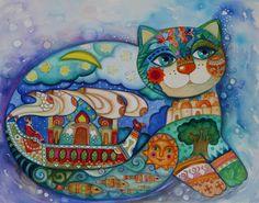 Sadko - Peinture,  41x32 cm ©2017 par Oxana Zaika -                                                                                                                                      Art déco, Art figuratif, Art naïf, Papier, Animaux, Bateau, Chats, Cultures du monde, Mythologie classique, sadko, russe, conte russe, mythologie