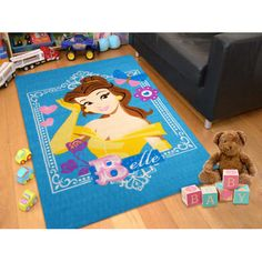 Clearance Licensed Blue Disney Princess Belle Kids Rug EasyBuy (AU) 01 Large