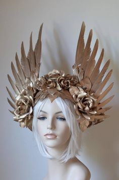 Gold Wings & Roses Headdress Made to order: goddess angel ,she Ra princess of power Floral Headdress, Gold Feathers, Fantasy Costumes, Halloween Disfraces, Bridal Crown, Burning Man, Headgear, Costume Design, Fascinator