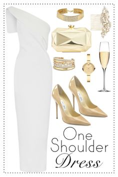 A fashion look from October 2016 featuring white one shoulder dress, jimmy choo pumps and beige purse. Browse and shop related looks. Prom Outfits, Dope Outfits, Girly Outfits, Cute Casual Outfits, Chic Outfits, Fashion Outfits, Sophisticated Outfits, Elegant Outfit, Elegant Dresses