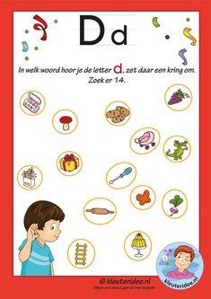 Pakket over de letter d blad 8, in welk woord hoor je een d antwoorden, letters aanbieden aan kleuters, kleuteridee.nl, free printable.