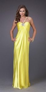 Charming Sheath Matte Yellow One Shoulder Formal Dresses Evening Gown