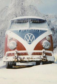 VW split window bus in the snow