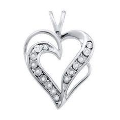925 WP 0.05Ctw Diamond Ladies Heart Pendant