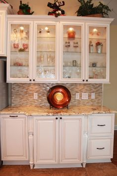 Huntington Maple White Cabinets with Tuscan glaze. Wood Cabinets, White Cabinets, Kitchen Cabinets, Beautiful Kitchens, China Cabinet, Kitchen Remodel, Glaze, Home Improvement, Storage